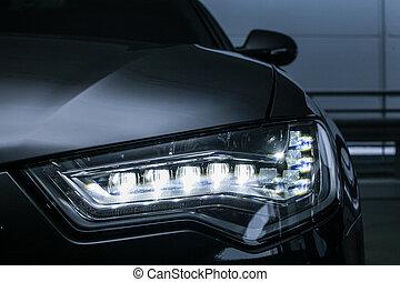 終わり,  prestigious, ヘッドライト, の上, 自動車