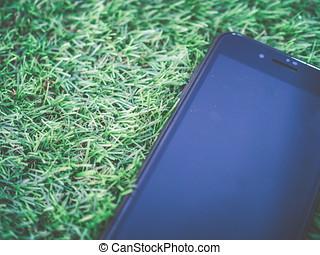 終わり, smartphone, 上に, ∥, 人工, 緑の草
