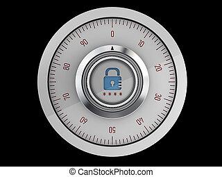 組合せ, 現実的, 安全である, lock., 隔離された, イラスト, バックグラウンド。, 黒, 3d