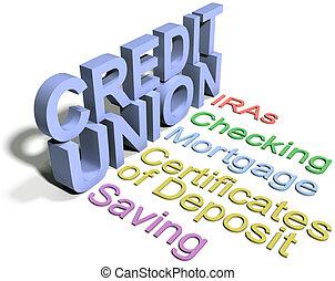 組合, クレジット, 財政, ビジネス, サービス
