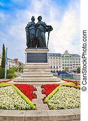 組合, スイス人, 記念, 像, ジュネーブ