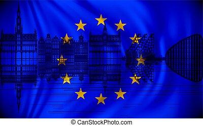組合, スカイライン, ブリュッセル, 旗, ヨーロッパ