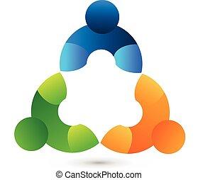 組合, チームワーク, ロゴ