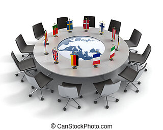 組合, テーブル, ラウンド, ヨーロッパ