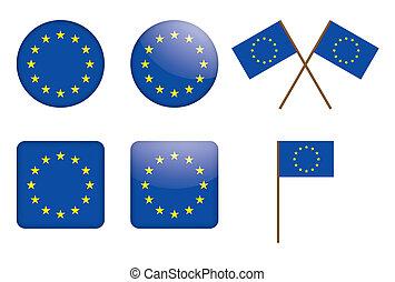 組合, バッジ, ヨーロッパの旗