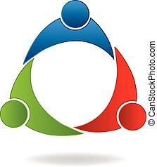 組合, パートナー, チームワーク, ロゴ