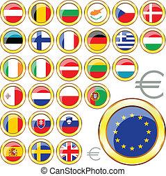 組合, ボタン, ヨーロッパ