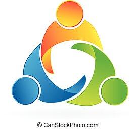 組合, ロゴ, チームワーク, 人々