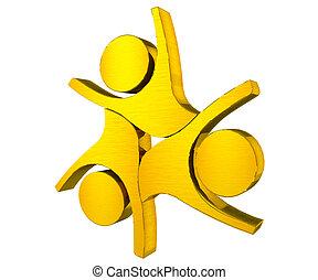 組合, ロゴ, チームワーク, 金, 人々