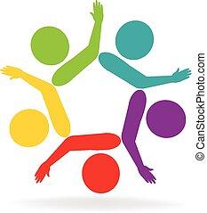 組合, ロゴ, ベクトル, チームワーク, 手