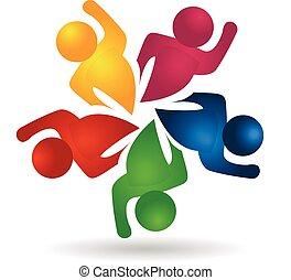 組合, ロゴ, 労働者, チームワーク