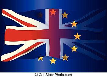 組合, 上に, 旗, ジャッキ, 薄れていった, eu