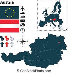 組合, 地図, オーストリア, ヨーロッパ