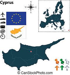 組合, 地図, キプロス, ヨーロッパ