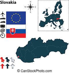組合, 地図, スロバキア, ヨーロッパ