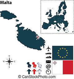 組合, 地図, マルタ, ヨーロッパ