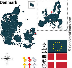 組合, 地図, ヨーロッパ, デンマーク