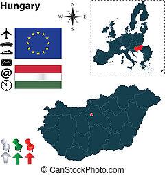 組合, 地図, ヨーロッパ, ハンガリー