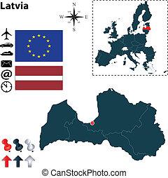 組合, 地図, ラトビア, ヨーロッパ