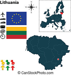 組合, 地図, リスアニア, ヨーロッパ