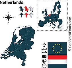 組合, 地図, netherlands, ヨーロッパ