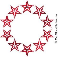 組合, 型, heraldic, 紋章, シンボル。, pentagonal, 主題, ベクトル, 星, コート, logo., 腕
