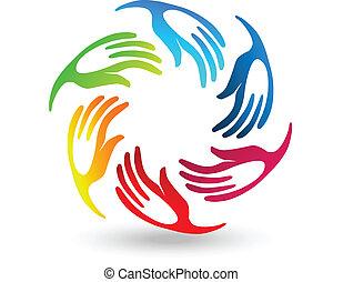 組合, 定型, 手, チームワーク, ロゴ