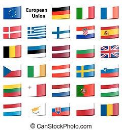 組合, 旗, コレクション, ヨーロッパ
