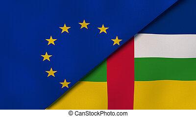 組合, 旗, ニュース, reportage, 3d, 中央である, ヨーロッパ, republic., ビジネス, アフリカ, イラスト, バックグラウンド。