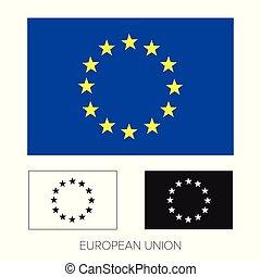組合, -, 旗, eu, ヨーロッパ, アイコン