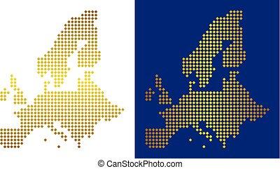 組合, 金, ヨーロッパ, 点, 地図