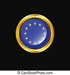 組合, 金, 旗, ボタン, ヨーロッパ