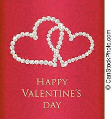 組成, 禮物, valentine卡片, 鑽石, 被纏住, 心, 紅色