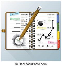 組織しなさい, ビジネス, ノート, infographic, デザイン, テンプレート, 教育