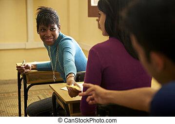 組, 人們, 學生, 學校, 筆記, 在期間, 通過, 課