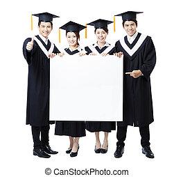 組, 學生, 年輕, 畢業生, 提出, 旗幟, 空