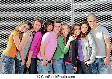組, 學生, 或者, 多种多樣, 青少年, 校園