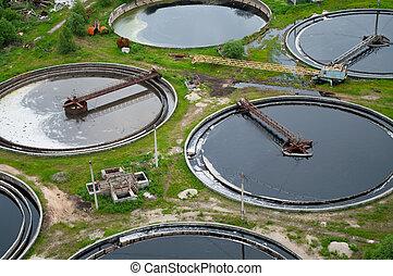組, 從, the, 大, 沉澱, drainages., 水, 再循環, 安置, 淨化, 在, the, 坦克,...