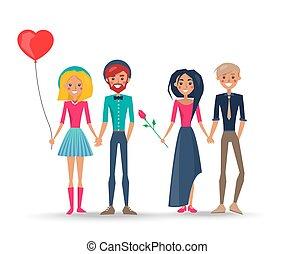 組, 恋人, 愛, 女の子, カップル, 男の子, 幸せ