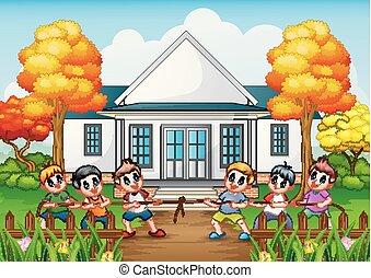 組, 房子, 戰爭, 前面, 玩, 孩子, 拖船