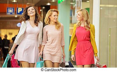 組, ......的, 女性, 朋友, 在, the, 購物中心