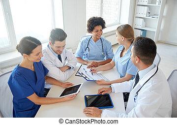 組, ......的, 愉快, 醫生, 會議, 在, 醫院, 辦公室