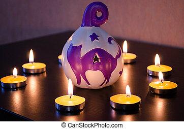 組, ......的, 燃燒, 蜡燭, 上