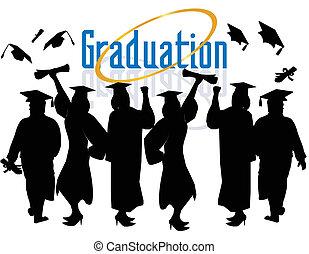 組, ......的, 畢業, celebrating...