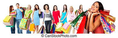 組, ......的, 美麗, 購物, woman.