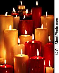 組, ......的, 蜡燭, 上, 黑色, 背景。