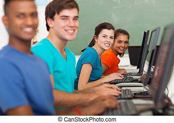 組, ......的, 高中, 學生, 使用, 計算机