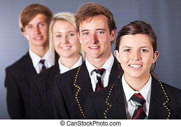 組, ......的, 高中, 學生, 肖像