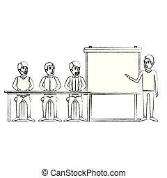 経営者, グループ, ビジネス, モデル, 男性, 人々, ぼんやりさせられた, 机, シルエット, マレ, presentacion