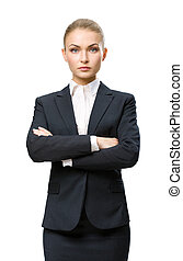 経営者, 交差させる, 女性手, 肖像画, 半分長さ